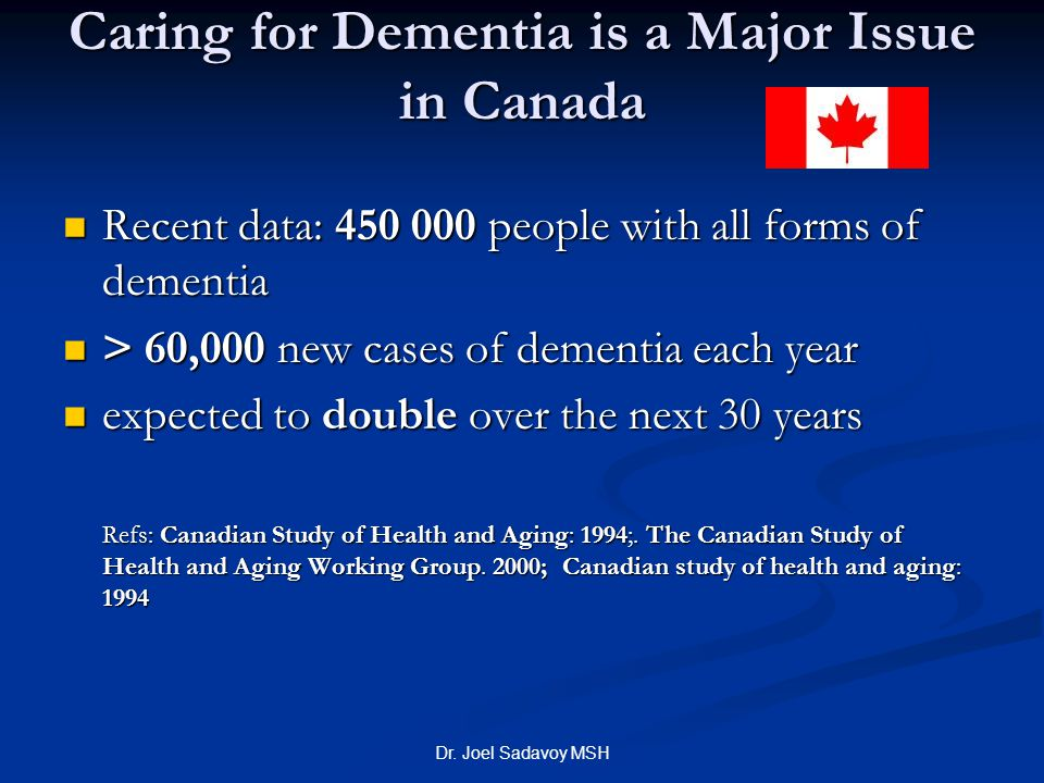 Caring for Dementia is a Major Issue in Canada