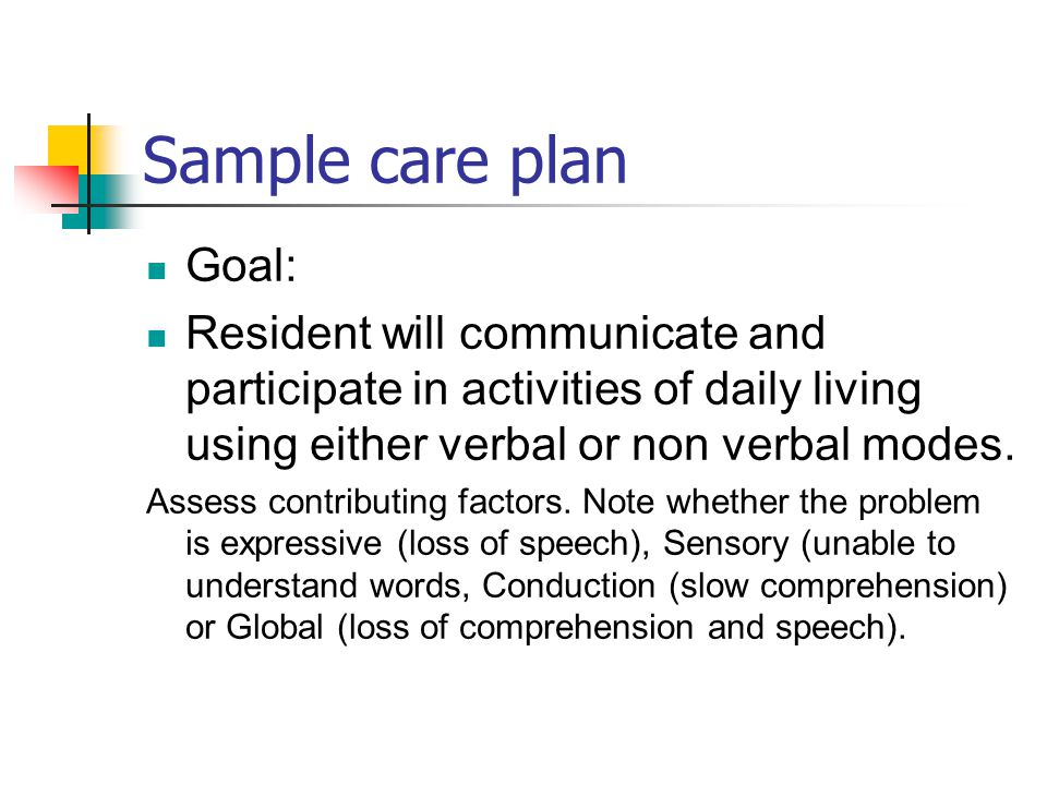 Sample care plan Goal: Resident will communicate and participate in activities of daily living using either verbal or non verbal modes.