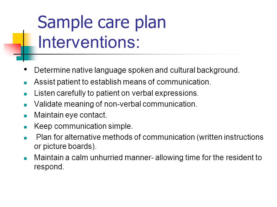 Sample care plan Interventions: