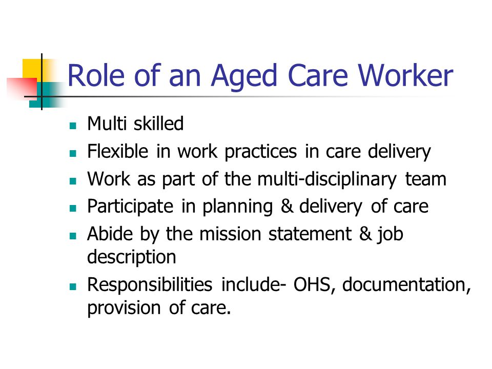 Role of an Aged Care Worker