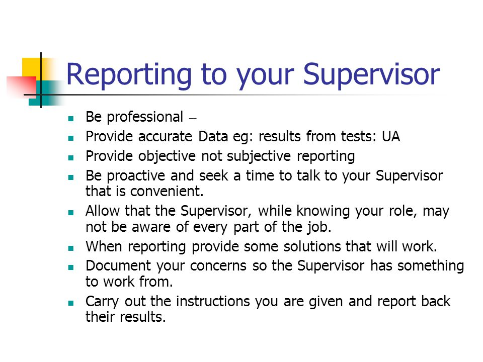 Reporting to your Supervisor