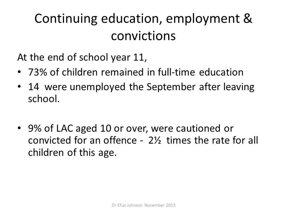 Continuing education, employment & convictions