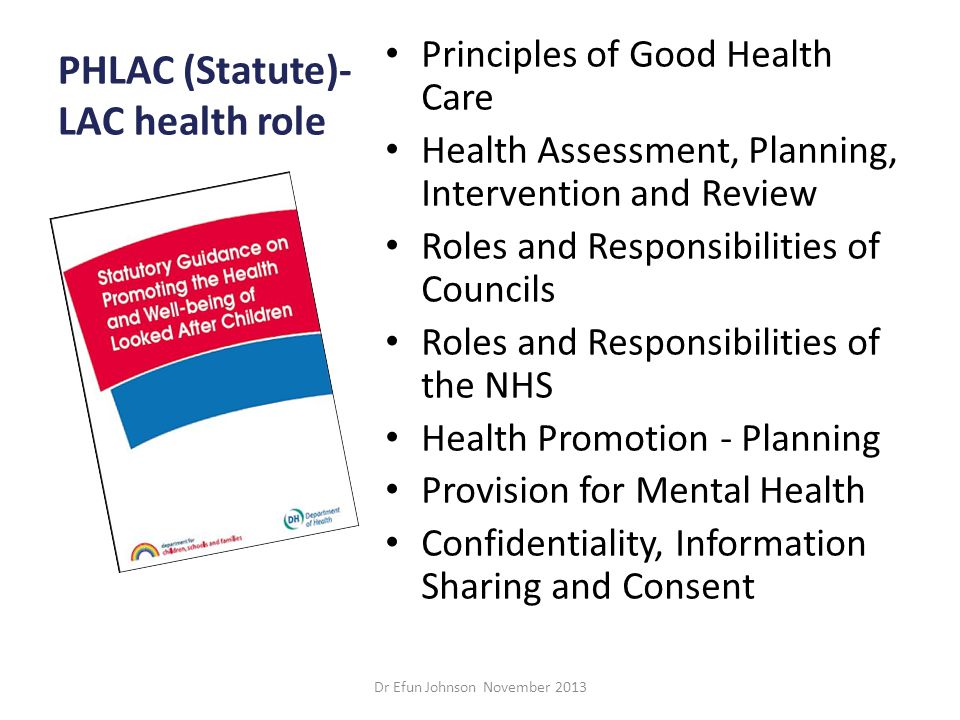 PHLAC (Statute)-LAC health role
