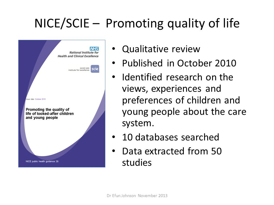 NICE/SCIE – Promoting quality of life