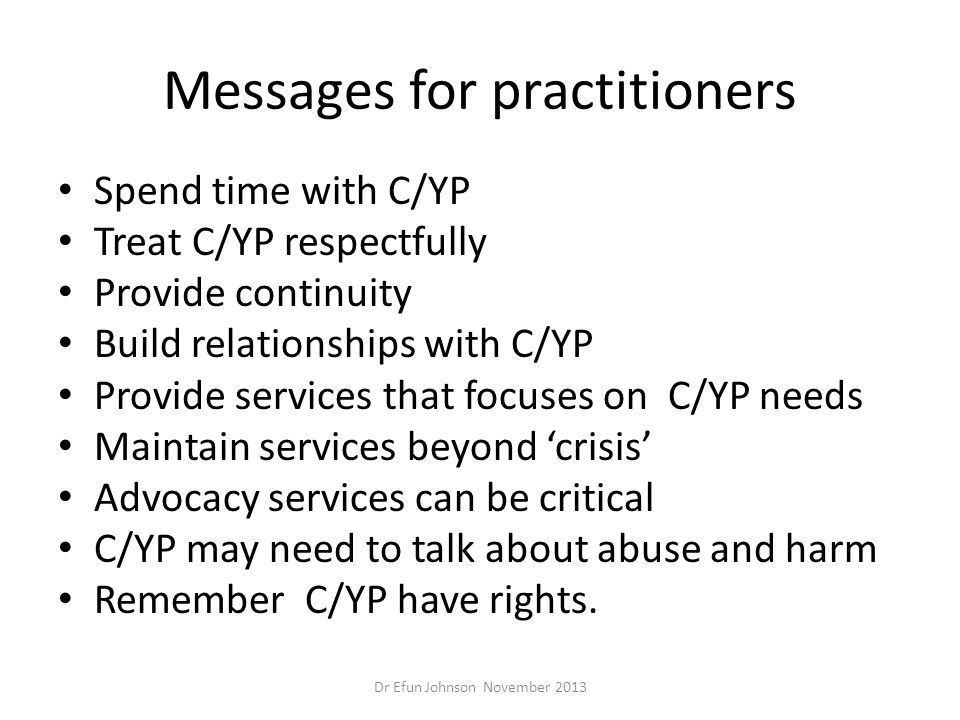 Messages for practitioners