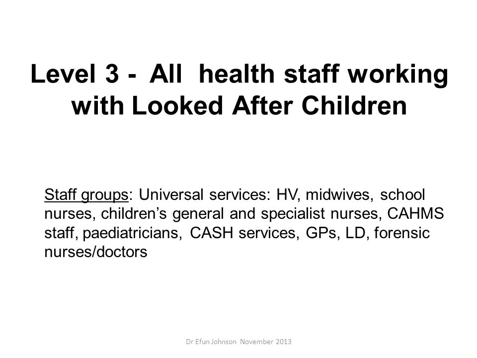Level 3 - All health staff working with Looked After Children