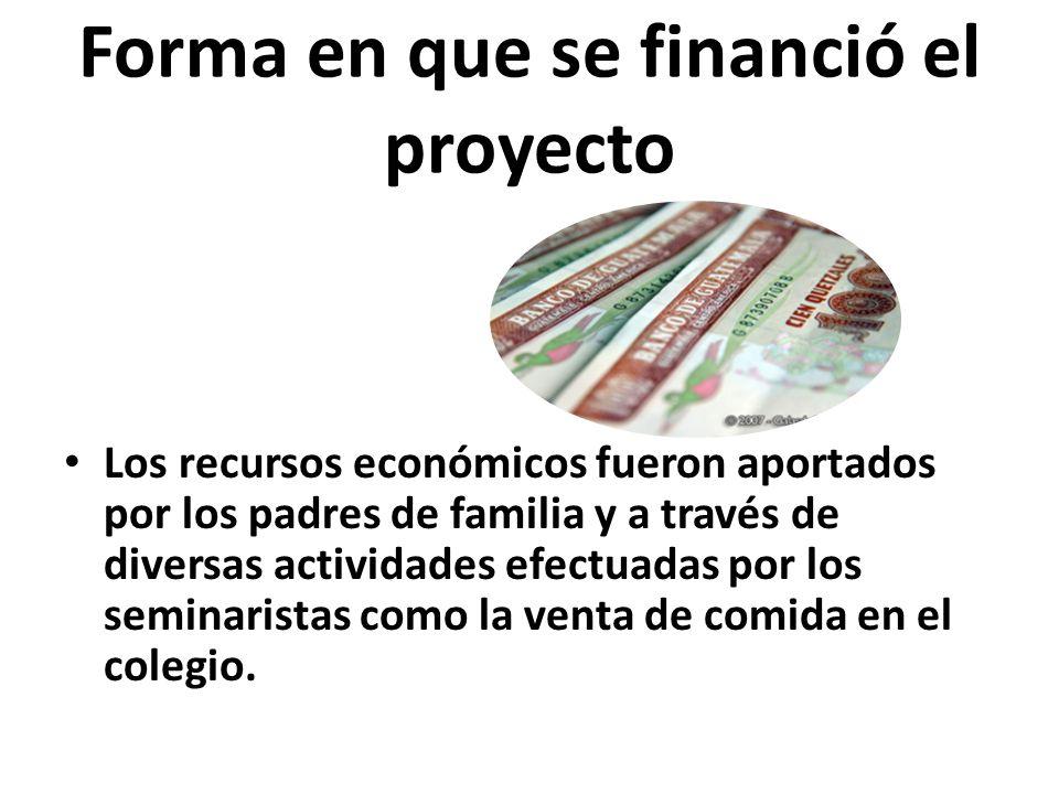 Forma en que se financió el proyecto