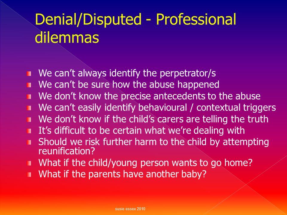 Denial/Disputed - Professional dilemmas