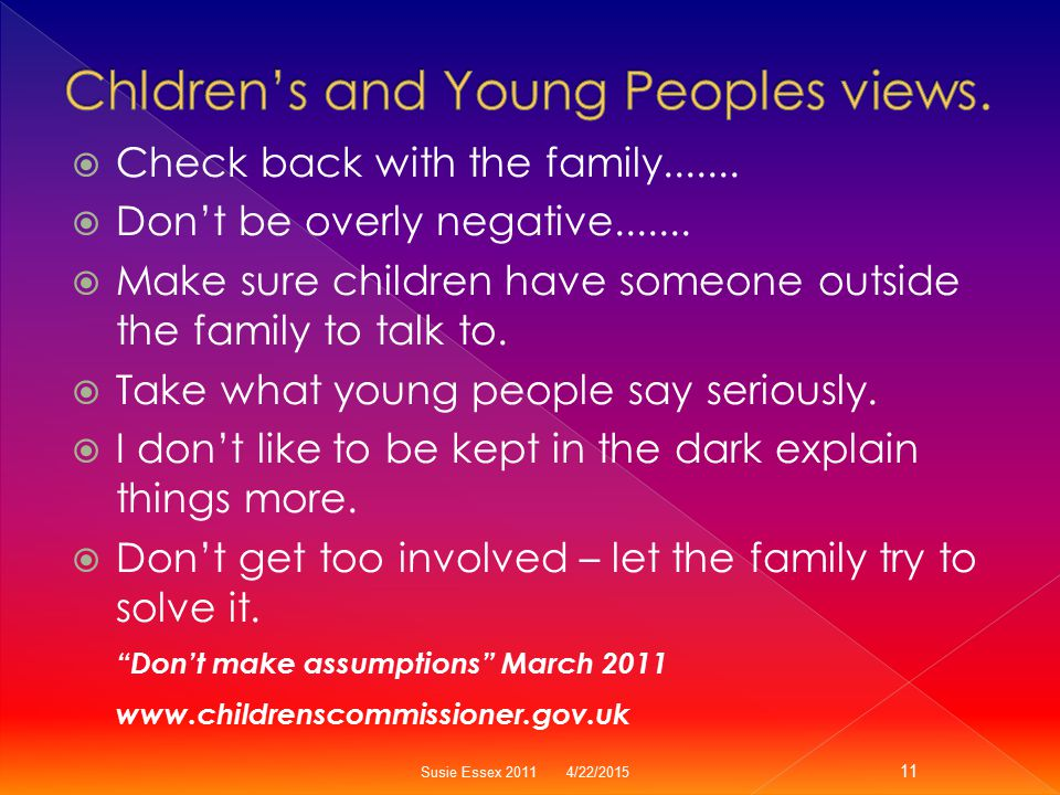Chldren's and Young Peoples views.