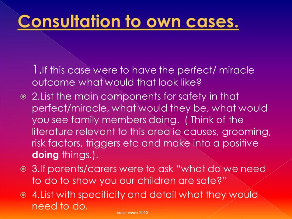Consultation to own cases.