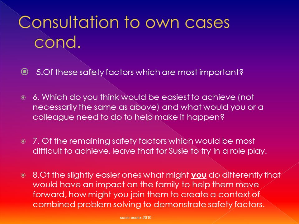 Consultation to own cases cond.