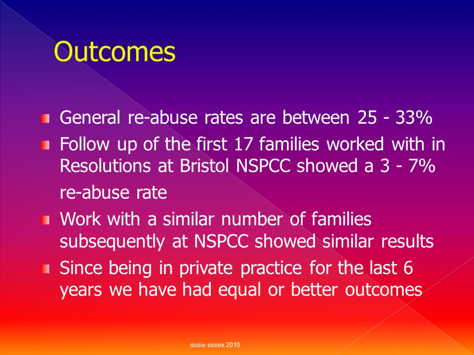 Outcomes General re-abuse rates are between 25 - 33%
