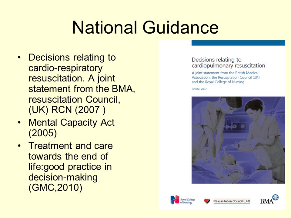 National Guidance Decisions relating to cardio-respiratory resuscitation. A joint statement from the BMA, resuscitation Council, (UK) RCN (2007 )