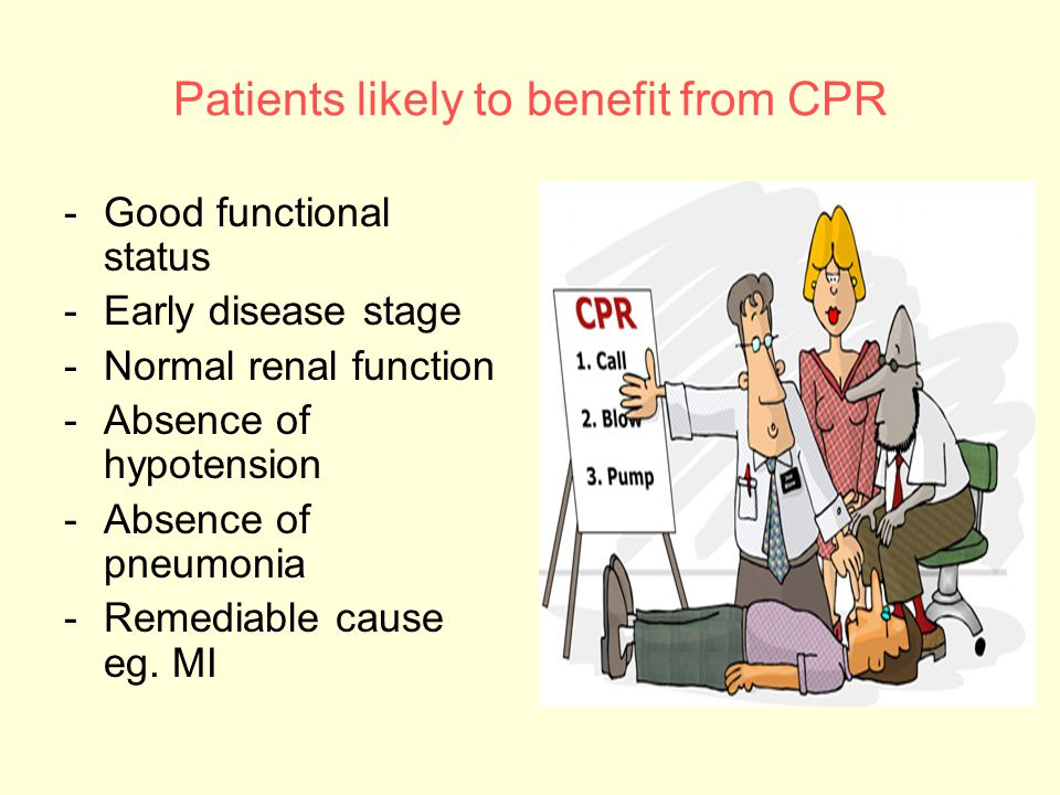 Patients likely to benefit from CPR