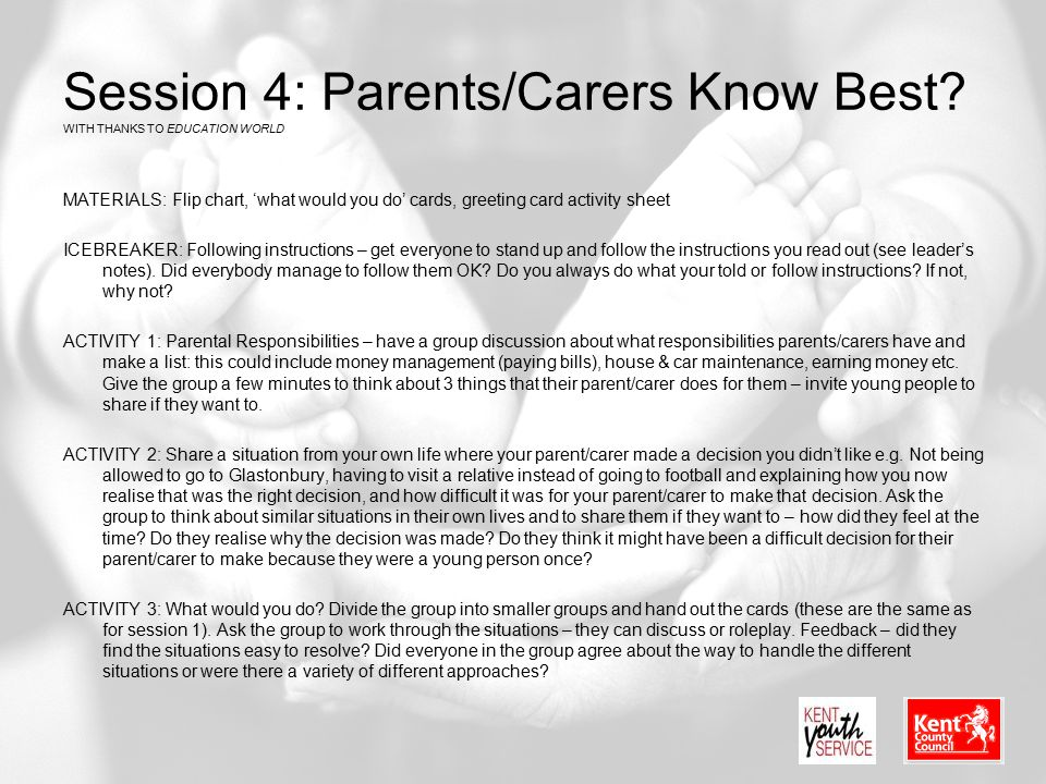 Session 4: Parents/Carers Know Best WITH THANKS TO EDUCATION WORLD