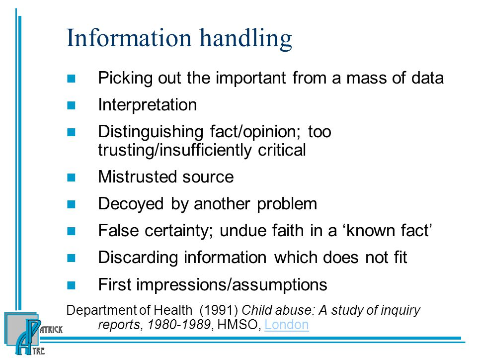 Information handling Picking out the important from a mass of data