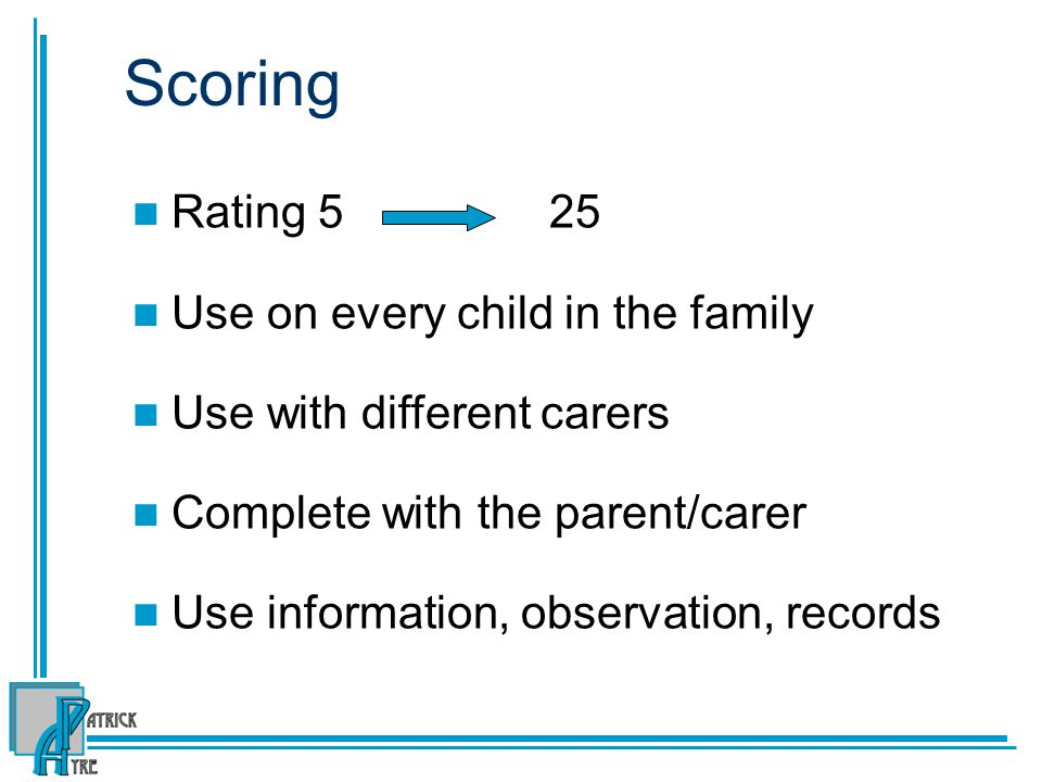 Scoring Rating 5 25 Use on every child in the family