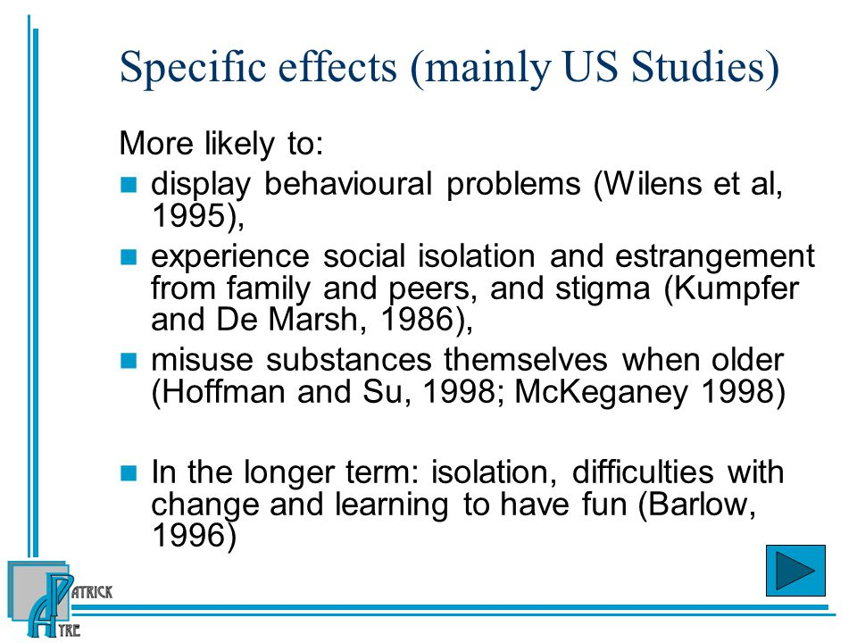 Specific effects (mainly US Studies)