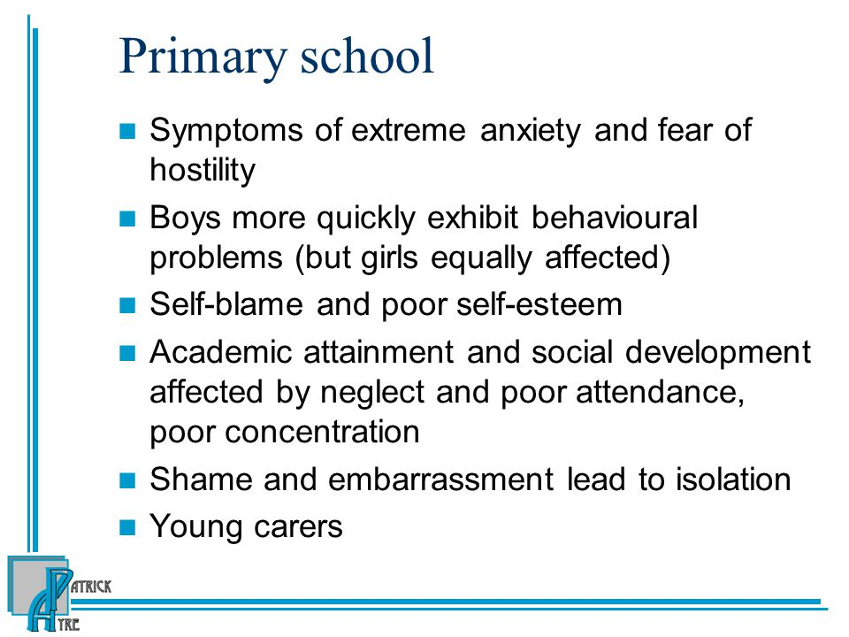 Primary school Symptoms of extreme anxiety and fear of hostility
