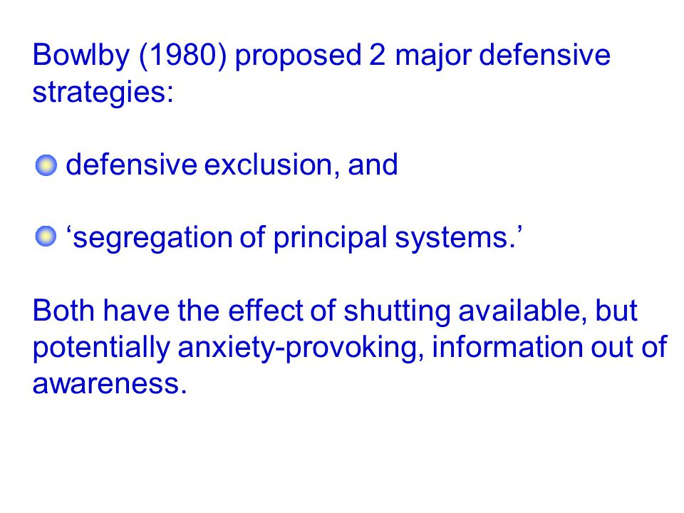 Bowlby (1980) proposed 2 major defensive strategies:
