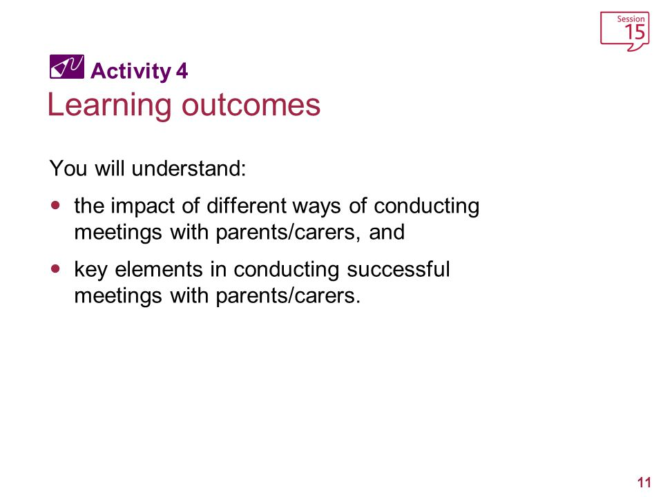 Learning outcomes Activity 4 You will understand:
