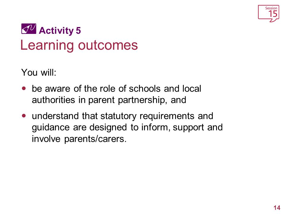 Learning outcomes Activity 5 You will: