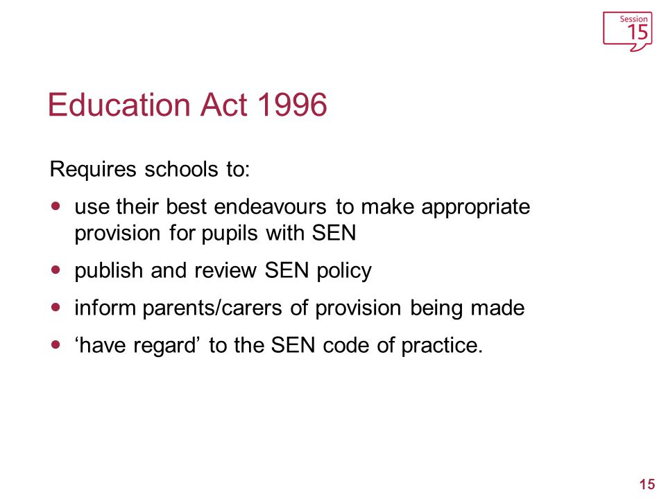 Education Act 1996 Requires schools to: