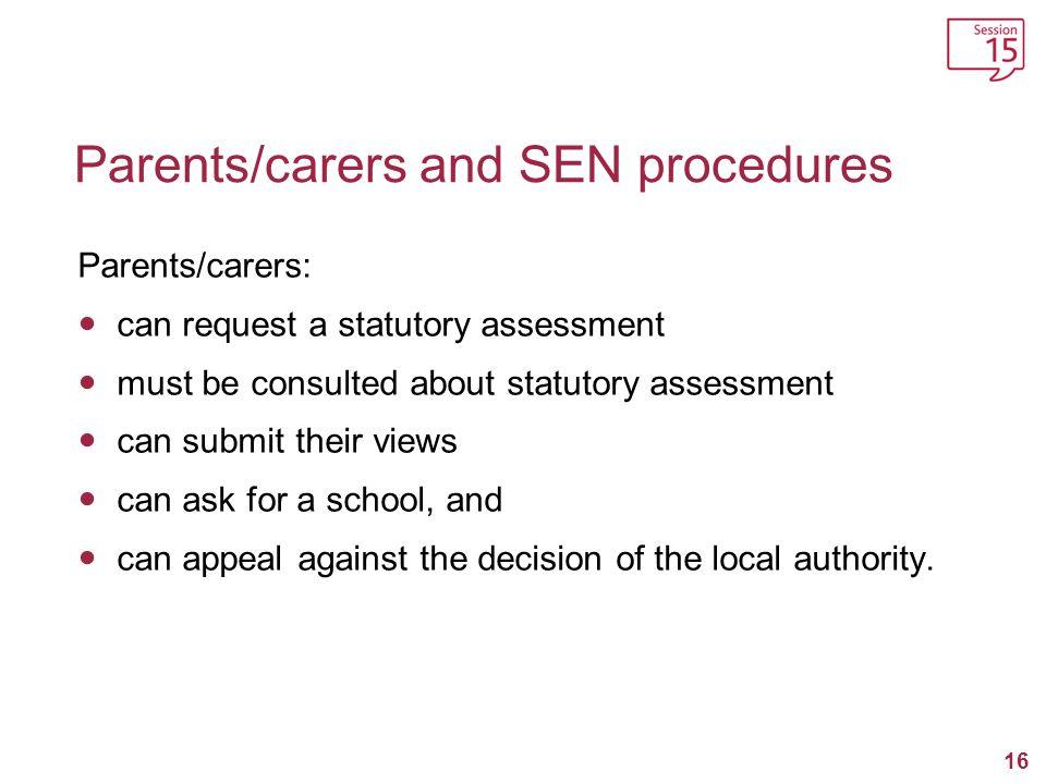 Parents/carers and SEN procedures