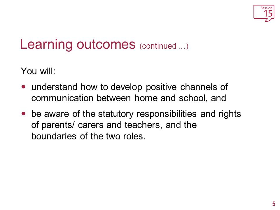 Learning outcomes (continued …)