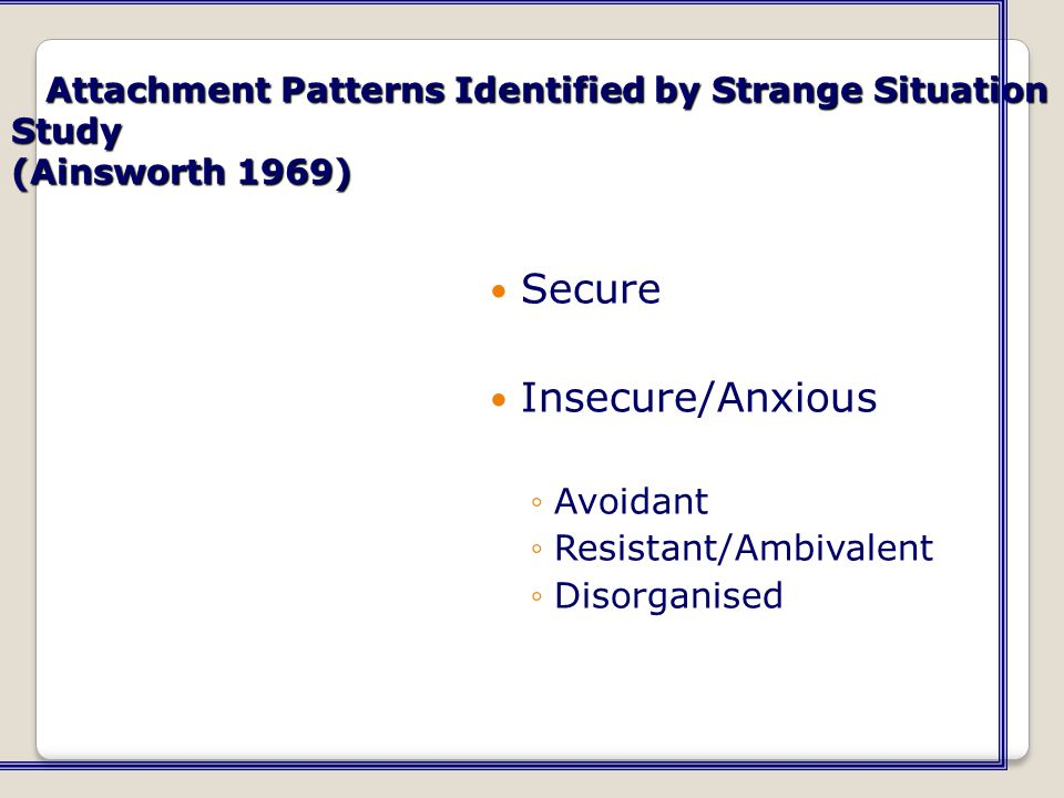Secure Insecure/Anxious Avoidant Resistant/Ambivalent Disorganised