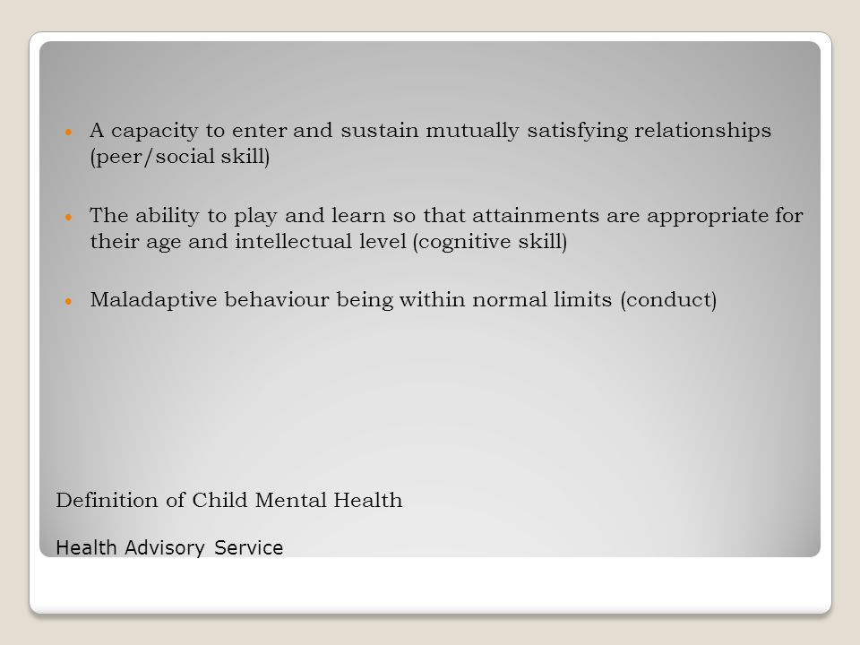 Definition of Child Mental Health Health Advisory Service