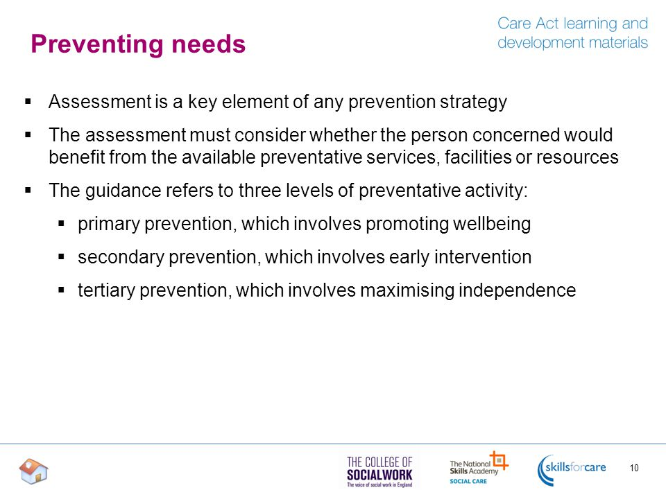 Preventing needs Assessment is a key element of any prevention strategy.