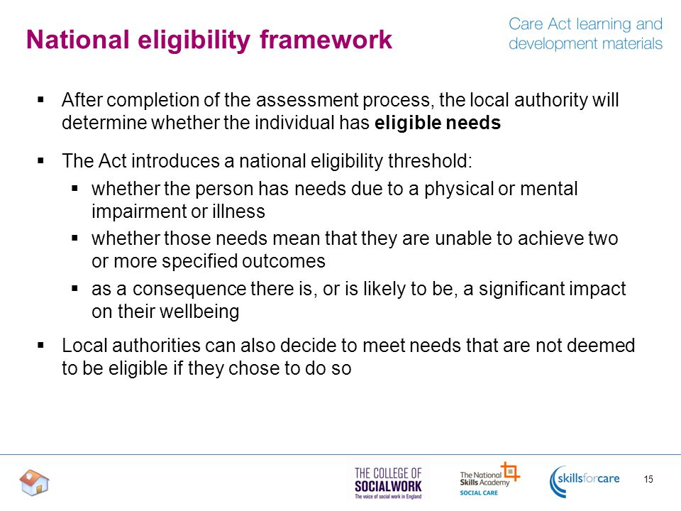 National eligibility framework