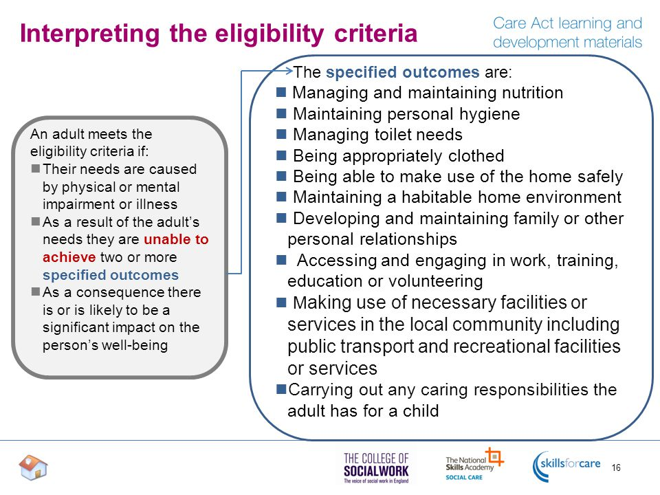 Interpreting the eligibility criteria