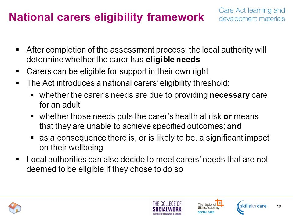 National carers eligibility framework