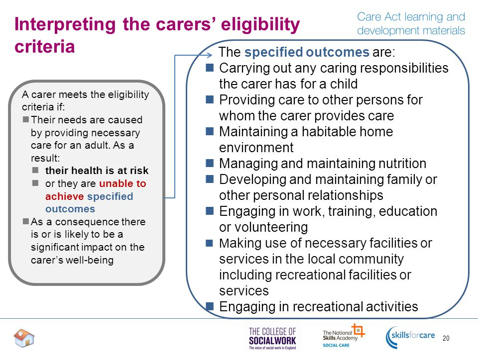 Interpreting the carers' eligibility criteria