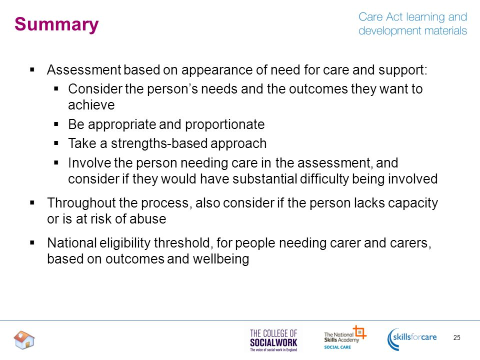 Summary Assessment based on appearance of need for care and support: