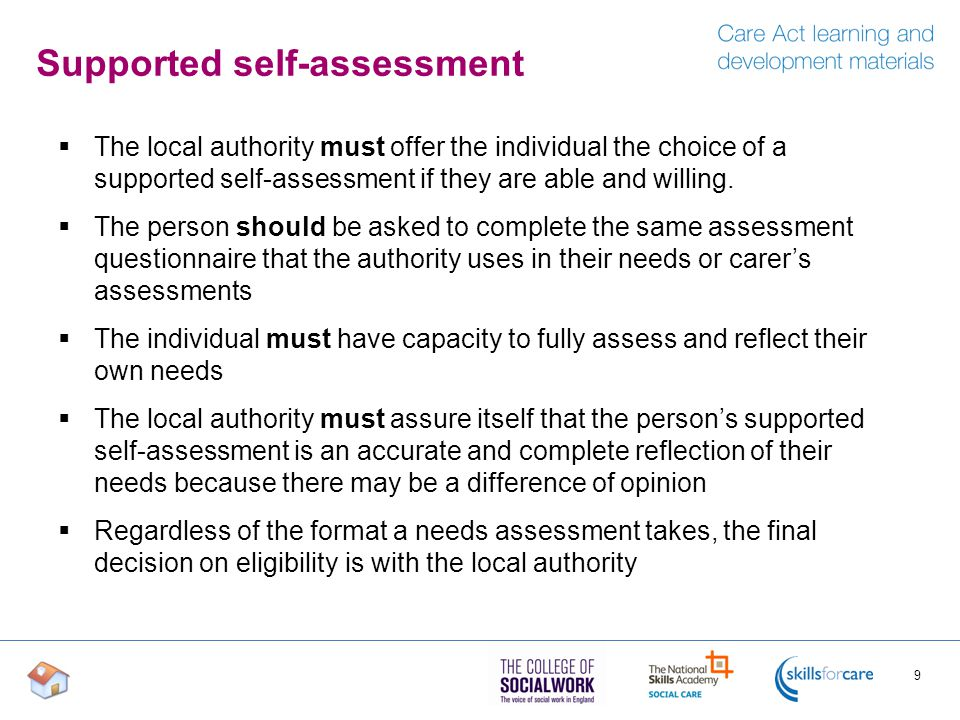 Supported self-assessment