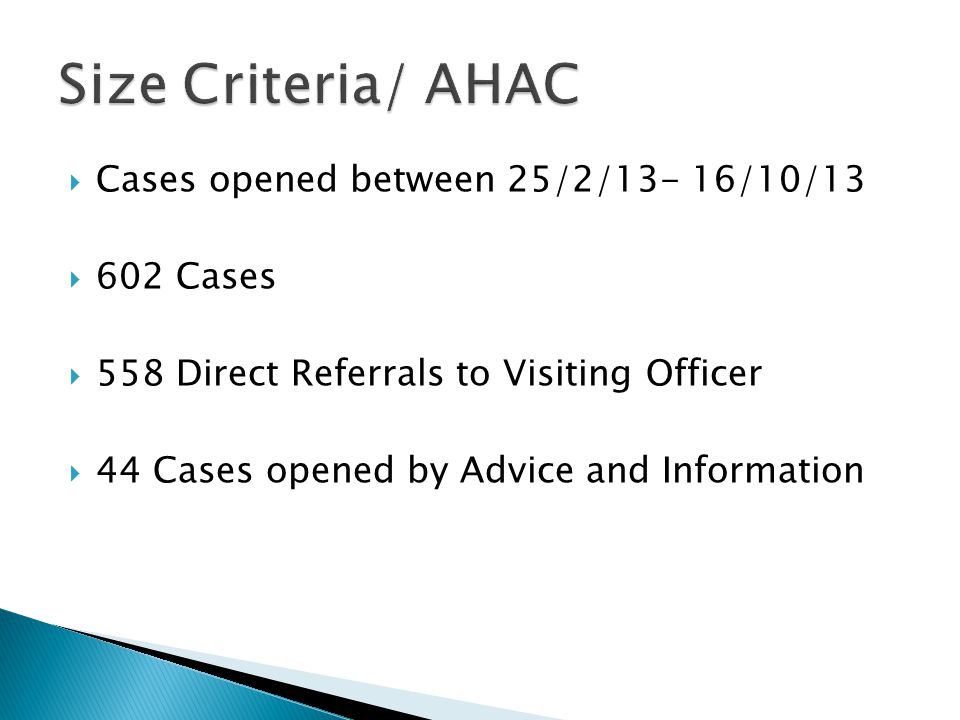 Size Criteria/ AHAC Cases opened between 25/2/13- 16/10/13 602 Cases
