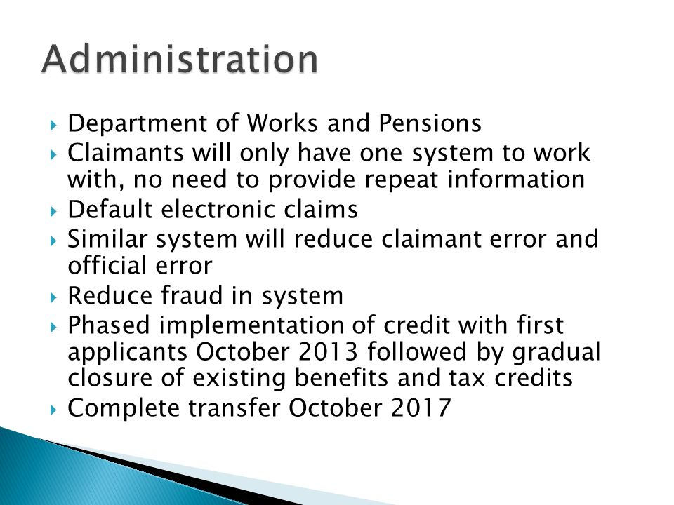 Administration Department of Works and Pensions