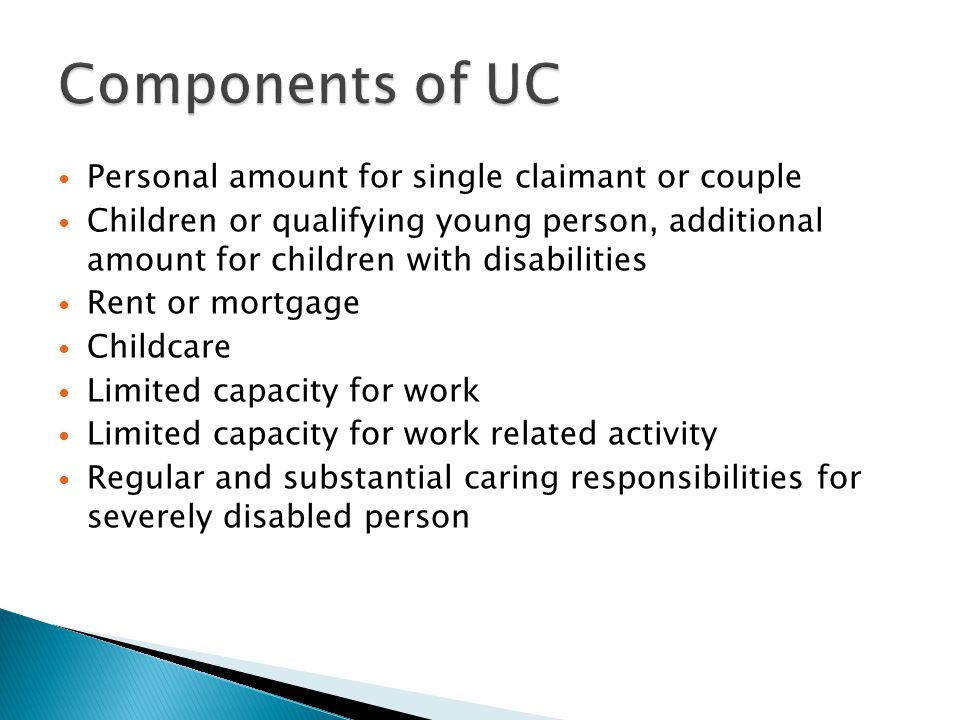 Components of UC Personal amount for single claimant or couple