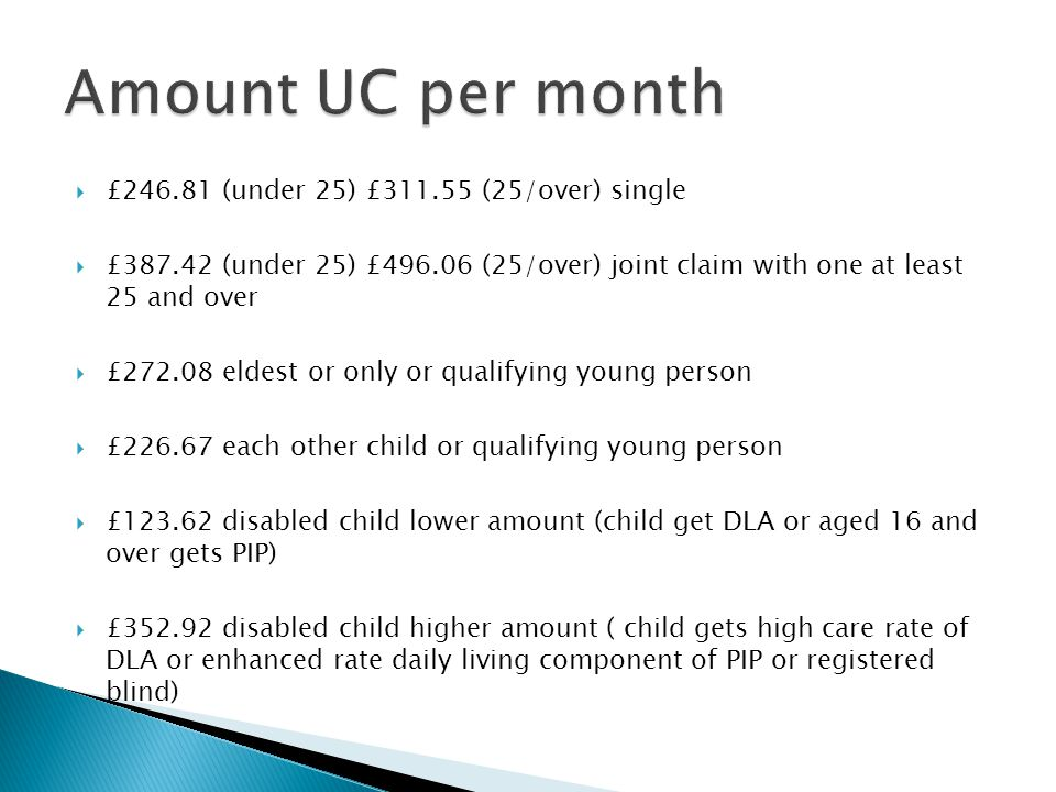 Amount UC per month £246.81 (under 25) £311.55 (25/over) single