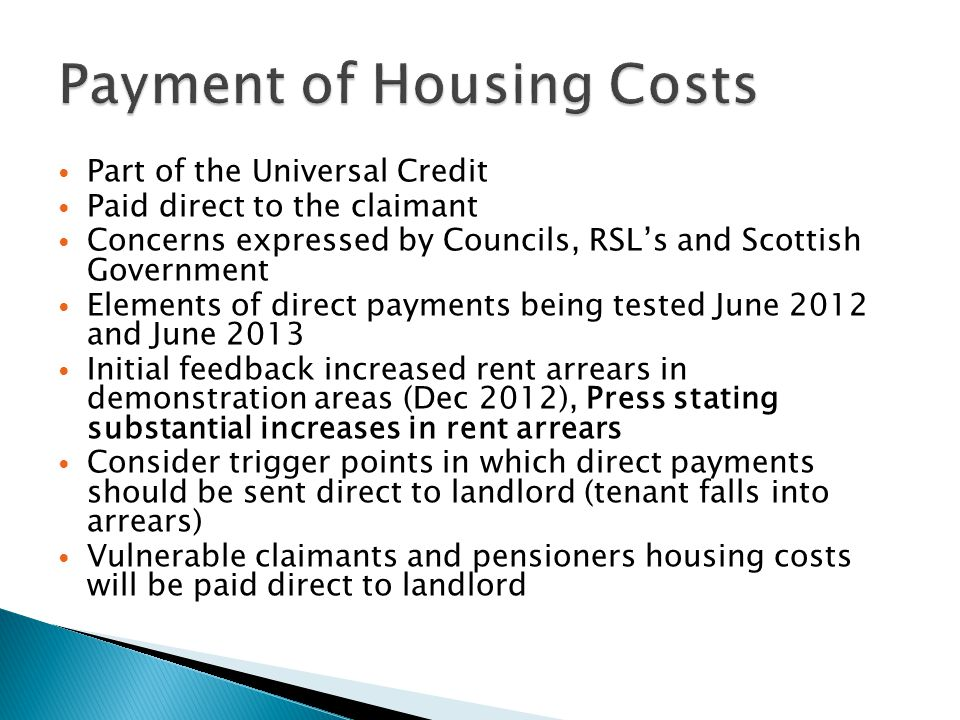 Payment of Housing Costs