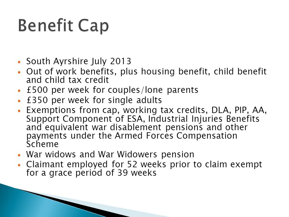 Benefit Cap South Ayrshire July 2013