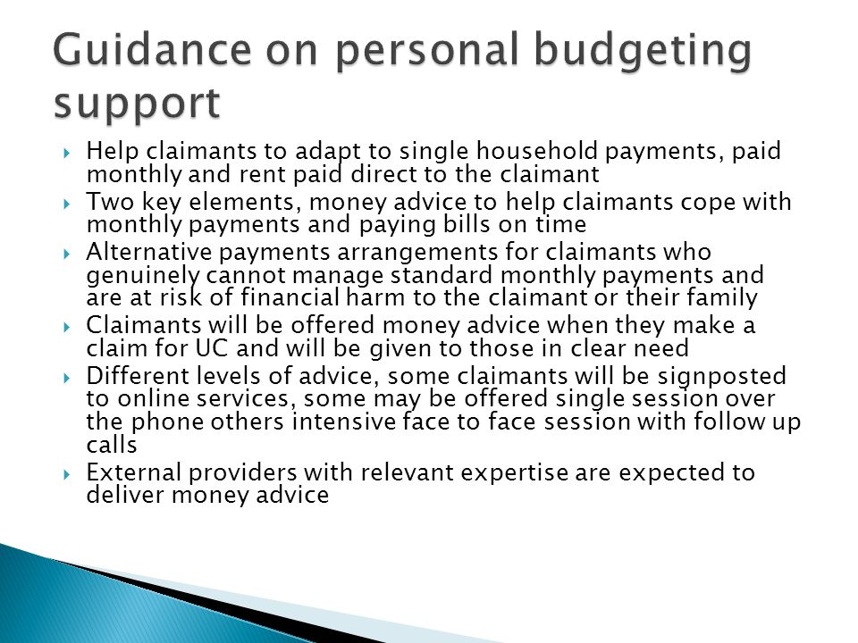 Guidance on personal budgeting support