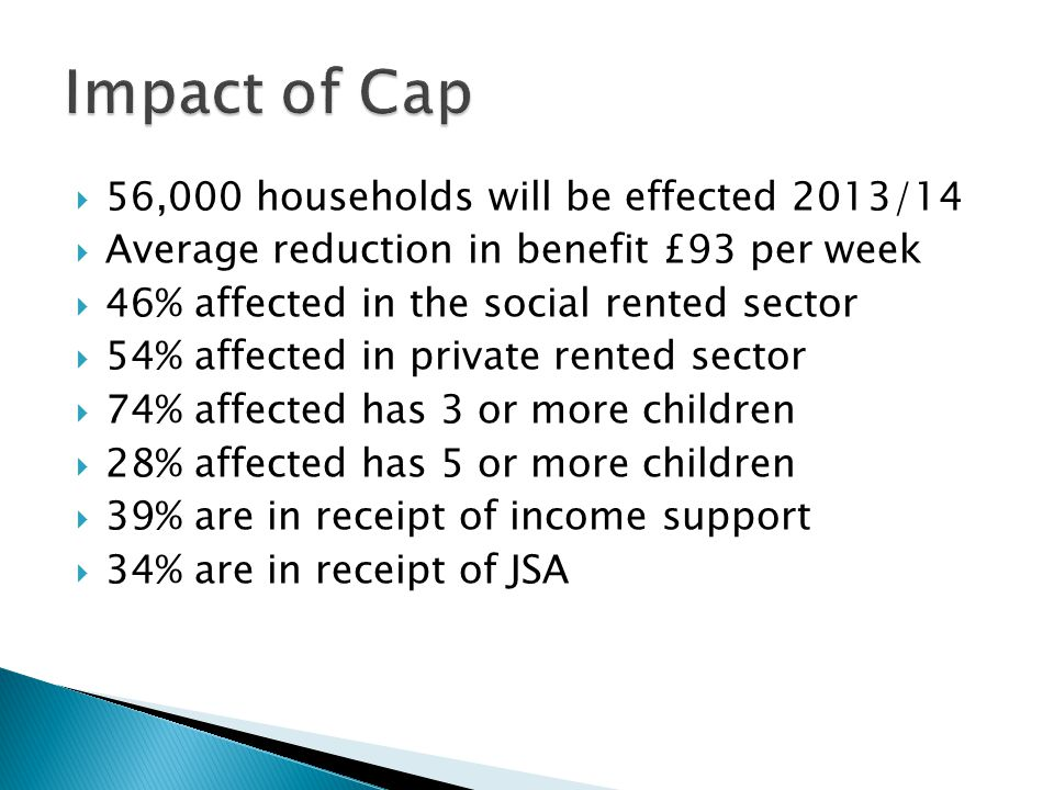Impact of Cap 56,000 households will be effected 2013/14