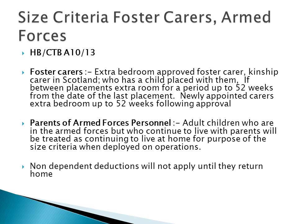 Size Criteria Foster Carers, Armed Forces