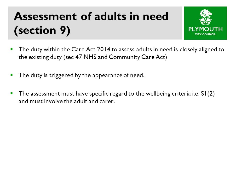 Assessment of adults in need (section 9)