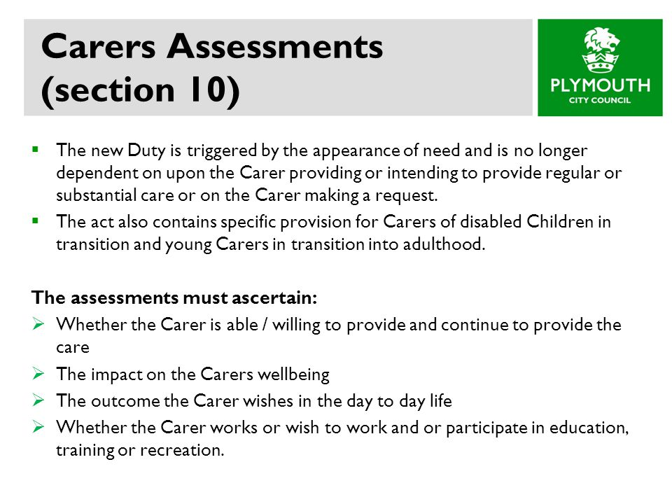 Carers Assessments (section 10)