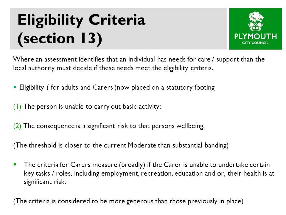 Eligibility Criteria (section 13)